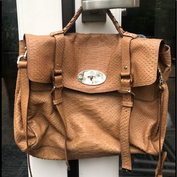89a5f7d797b1 Mulberry Bags | Alexa Satchel Tan Embossed Leather | Poshmark